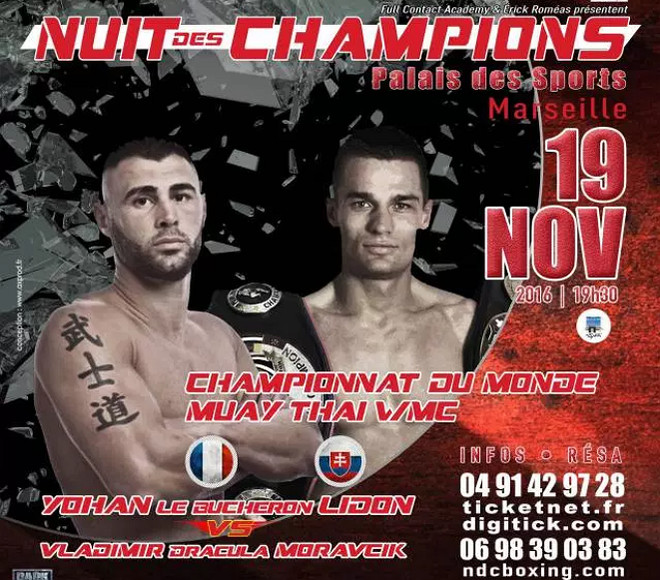 Yohan Lidon vs Wladmir Moravcic, muay thai news 2016, wmc title fight,